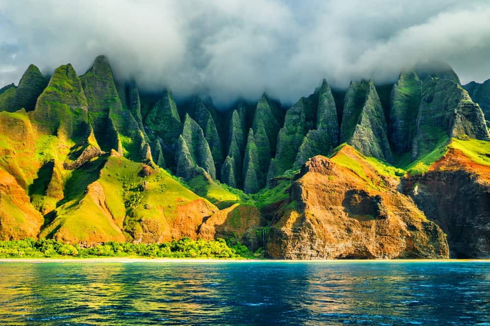 This is a view of the Na Pali coast in Kauai, Hawaii.