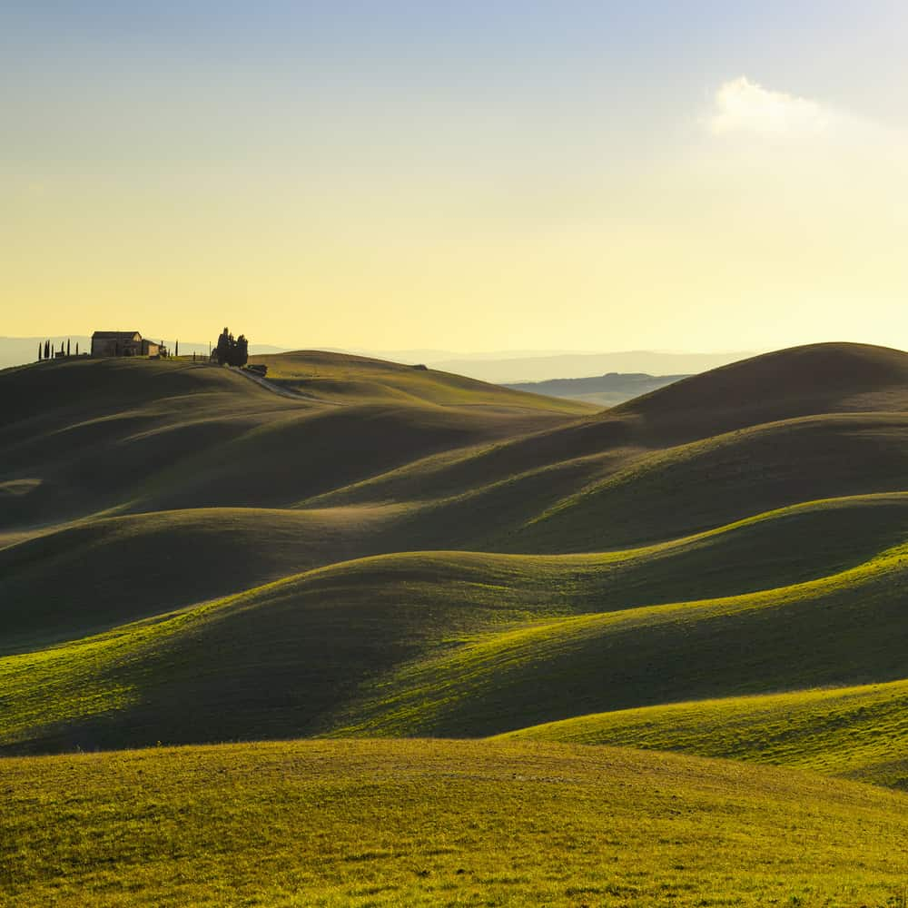 This is an aerial view of a hilly landscape in Tuscany.