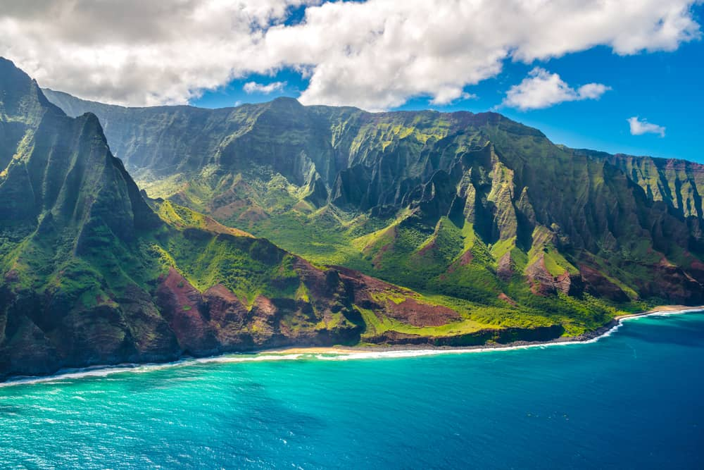 This is an aerial view of the Napali Coast in Hawaii.