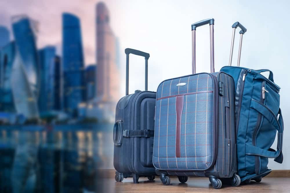 A close look at various wheeled bags and suitcases.