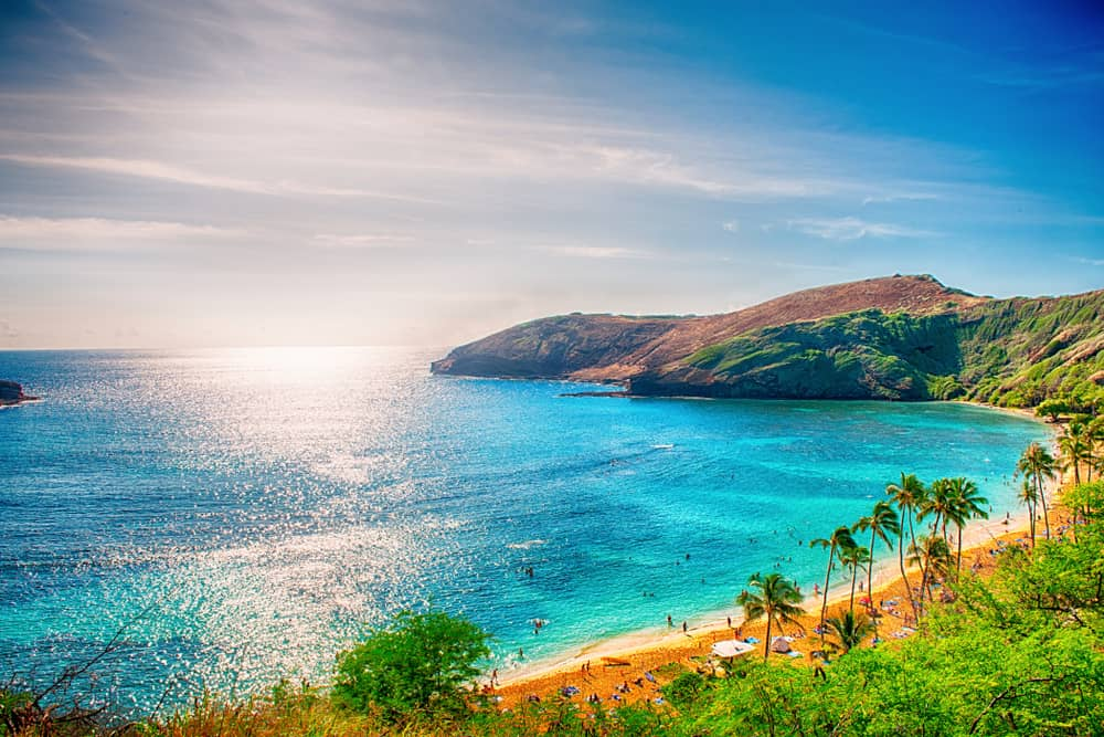 This is an aerial view of one of the Hawaiian beaches.