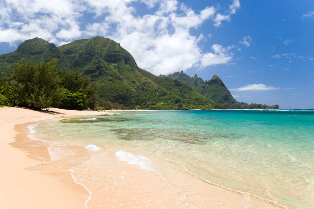 A close view of the secluded beach of Haena in Kauai, Hawaii.