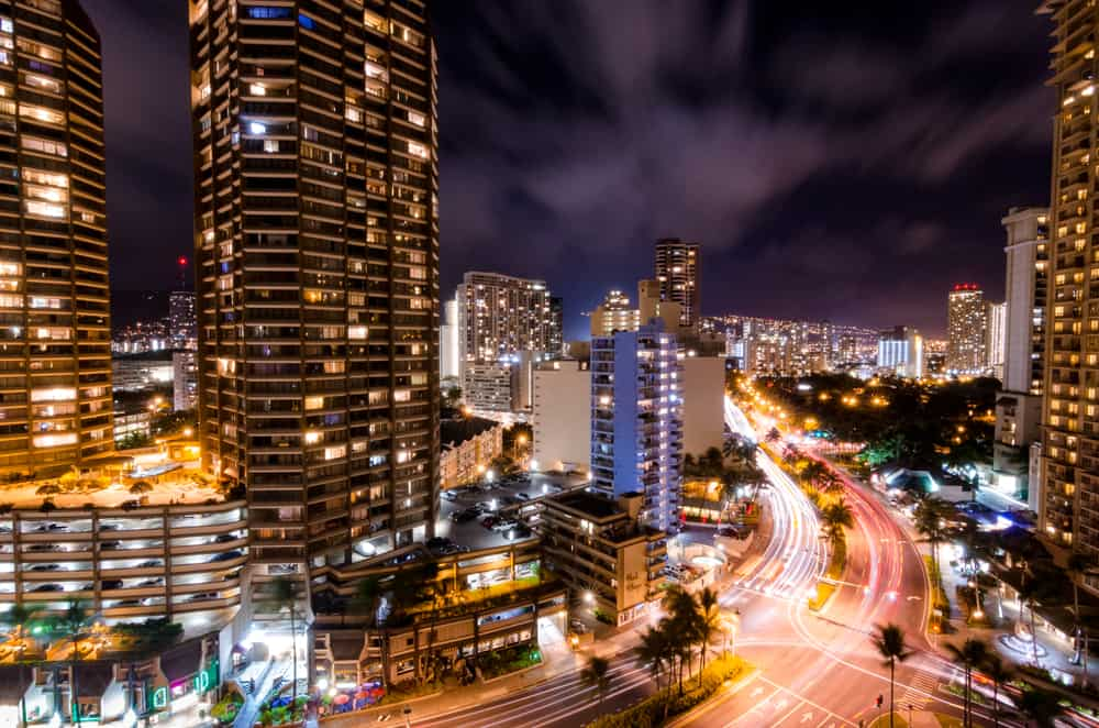 This is an aerial view of Honolulu during nighttime.