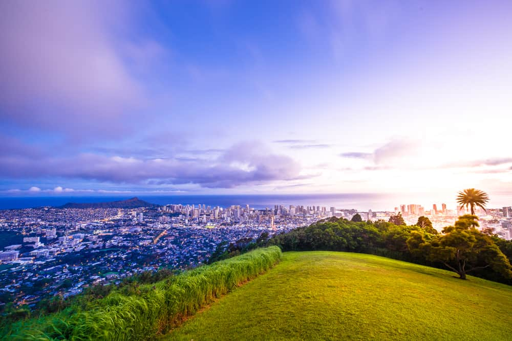 This is a sweeping view of Honolulu from the vantage of Tantalus Lookout.