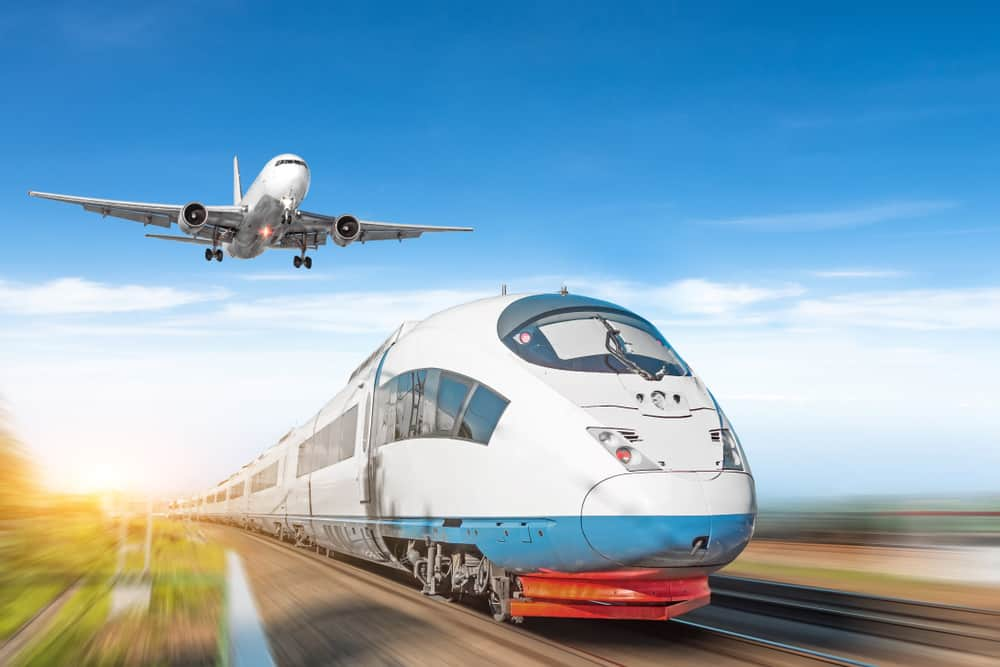 Airplane and high-speed train for transport concept.