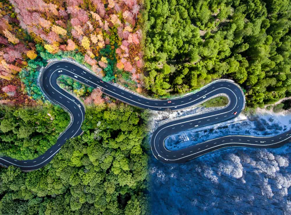 Aerial view of a winding road in all four seasons.