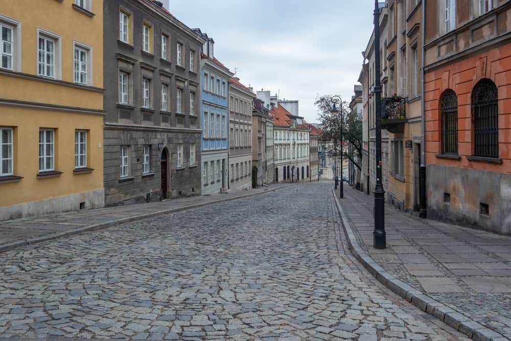 Warsaw old street with colorful buildings.