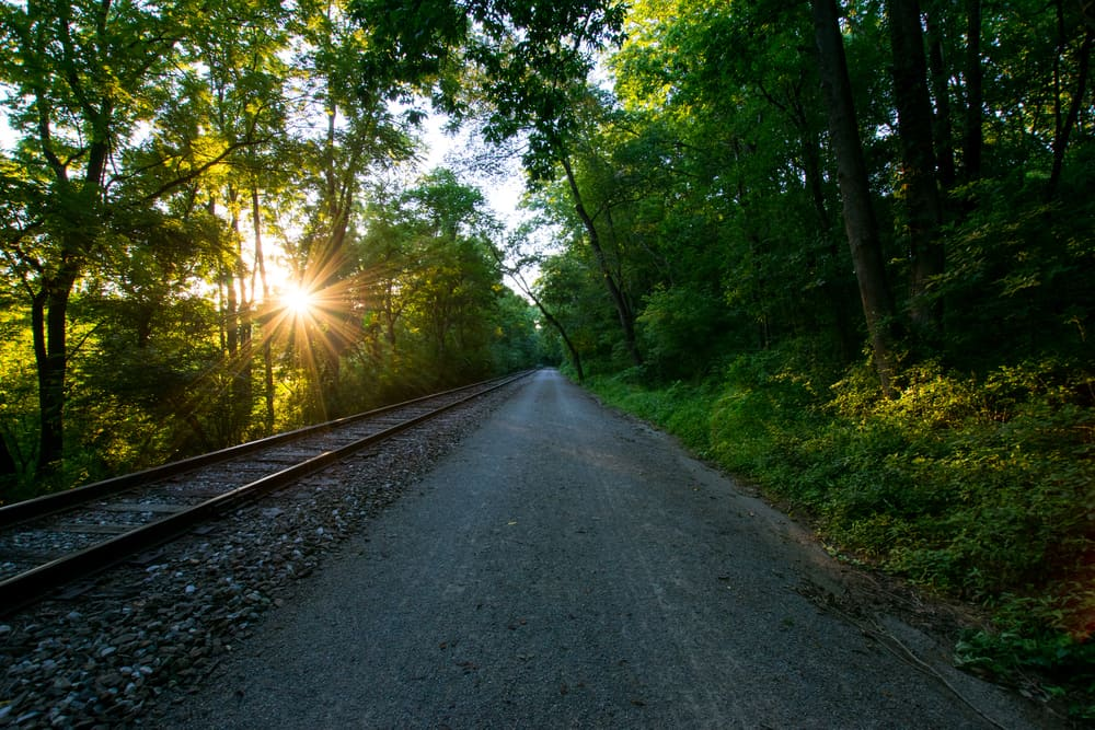 Heritage Rail Trail County Park in Pennsylvania with morning sun.
