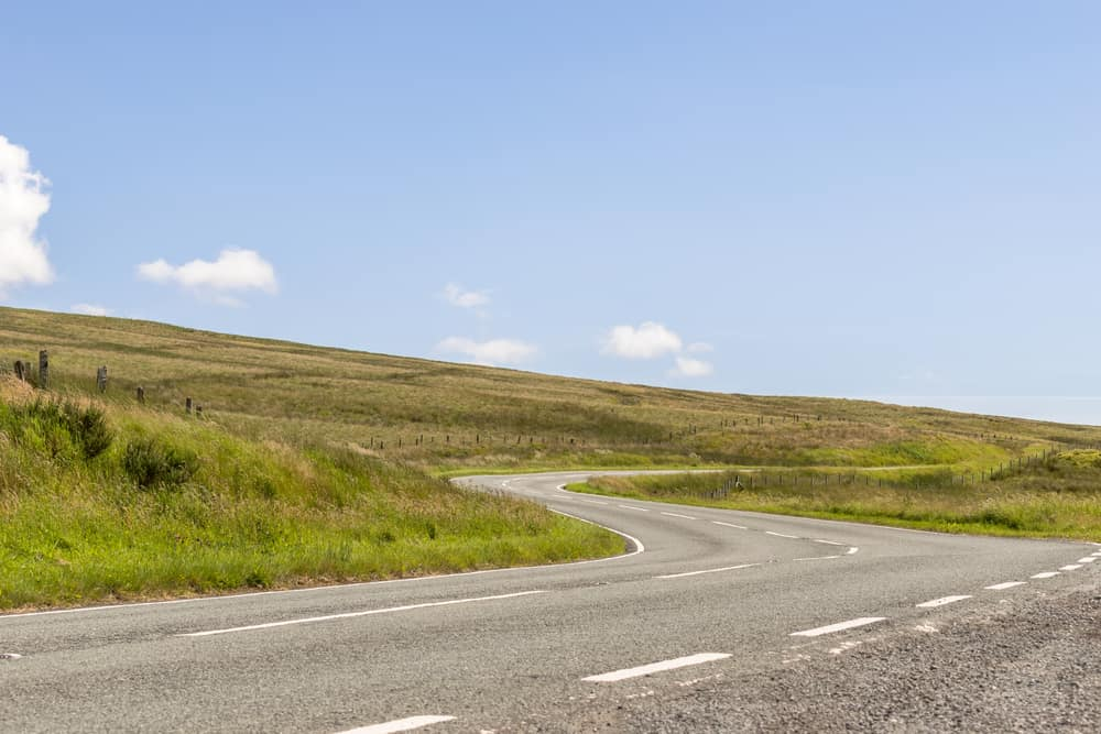 The Famous A543 Pentrefoelas to Denbigh Road 'Evo Triangle' North Wales UK.